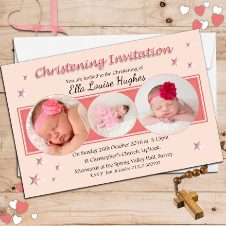 10 Personalised Christening Baptism Photo Invitations N26